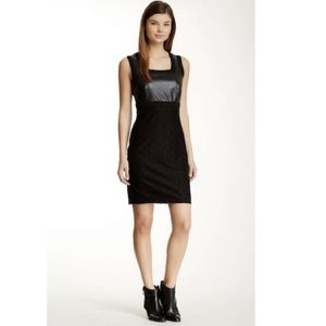 Ro & De  Lace & Faux Leather Sheath Dress